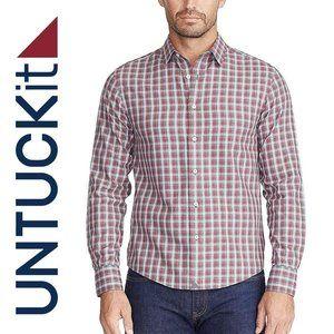 UNTUCKit Gray Slim Plaid Long Sleeve Shirt mens XL